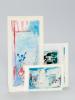 4 cartes de voeux avec oeuvre originale à l'acrylique : 1 carte de voeux pliante format à l'italienne 9,5 x 6 cm avec peinture intitulée Après Midi Le ...