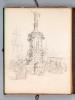 Ensemble de 53 dessins et esquisses d'un séjour en Espagne vers 1850 : [ Dont : ] Vue de l'Alcazar et du pont d'Alcantara à Tolède - Aqueduc, vue de ...