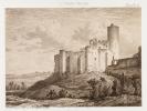 Rauzan [ Eau-forte originale extraite de la Guienne Militaire, Planche 28 : Château de Rauzan ]. DROUYN, Léo