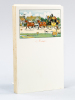 Lot de 90 menus vierges ornés d'un dessin imprimé de Cecil Aldin (malle-poste à 4 chevaux, avec chien de chasse tractant une caisse de champagne de la ...