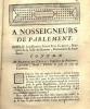 A nosseigneurs de parlement, supplie humblement Joseph Suel Lambert, bourgeois de la ville de Romans, demandeur et accusateur, contre Me Remond du ...