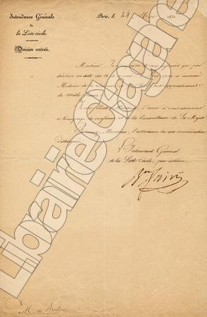 Lettre signée. Fain (Agathon-Jean-François), baron :