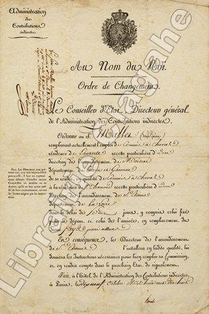Ordre de Changement,. Barante (Amable-GUILLAUME-Prosper Brugière, baron de) ;