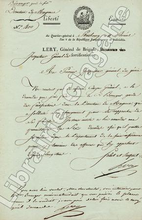 Lettre signée. Lery (François-Joseph Chaussegros de) :