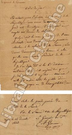 Pièce manuscrite :. Gémeau (Auguste-Pierre) :