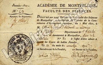 Certificat d'admission aux cours de la Faculté des Sciences de l'Académie de Montpellier. [Sciences] Gergonne, Joseph ; de Serres, Marcel ; Ollier, ...
