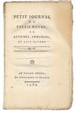 Petit Journal du Palais Royal, ou affiches, annonces et avis divers.. [Révolution Française - Journal pamphlétaire éphémère]
