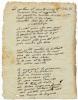 Manuscrit du XVIIIe d'une chanson populaire en six couplets sur l'aérostation. .