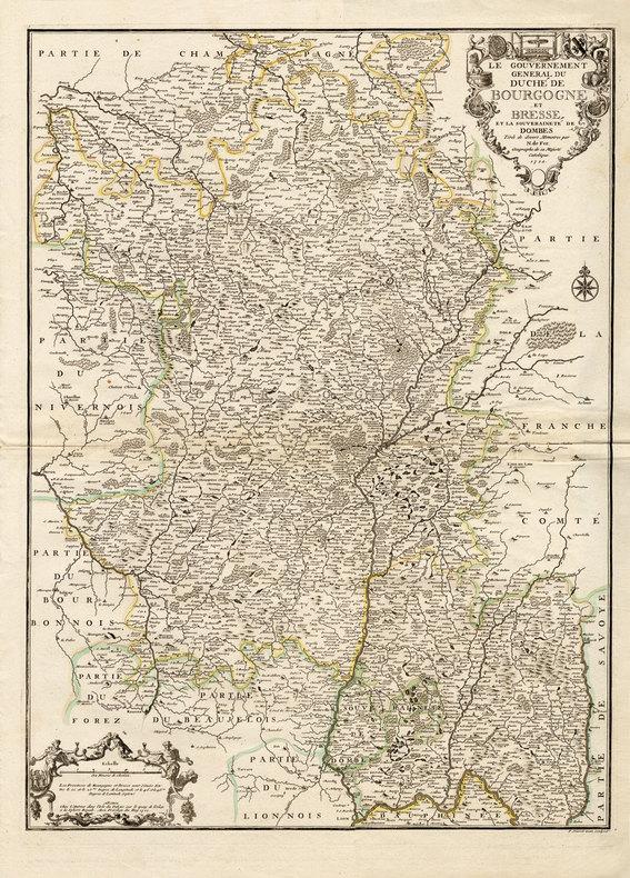 Le Gouvernement général du duché de Bourgogne et Bresse et la souveraineté de Dombes.. [Carte] Fer (Nicolas de) :