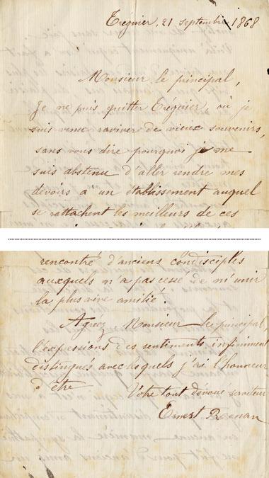 LETTRE AUTOGRAPHE SIGNEE, . Renan (Ernest ; Tréguier 1823-Paris 1892) :