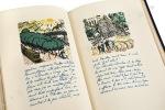 Promenade avec Gabrielle. Manuscrit de Jean Giraudoux illustré de seize lithographies en couleurs par J.-E. Laboureur. . [Reliure de Cretté dessinée ...