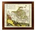 Carte (52 x 61 cm) gravée en couleurs, encadrée (61 x 70 cm): Comitatus Stolbergensis delineatio geographia praefecturas Hohnstein, Stolberg, Hayn, ...
