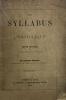 Syllabus (Le) de l'Encyclique. Texte officiel et quelques notes. Quatrième édition, augmentée du texte latin du Syllabus..