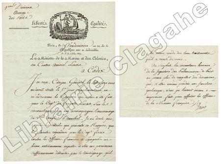 2 pièces : 1- Lettre / 2- Lettre Signée.. Decrès (Denis, comte, puis duc) :