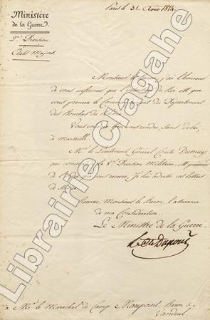 Lettre signée,. Dupont de l'Etang (Pierre, comte) :