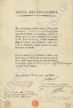 Feuille de route de l'Hôtel des Invalides. Sombreuil (Charles-François-Virot, marquis de) :