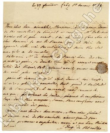 Lettre autographe signée,. Vitroles (Eugène, François, Auguste, baron de) :