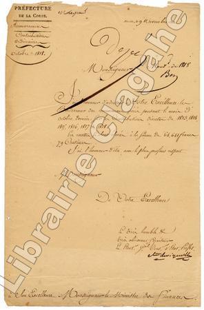 Lettre autographe signée,. Vignolle (Martin, comte de) :