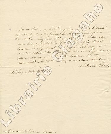Lettre autographe signée,. Clarke (Henri-Jacques-Guillaume) :
