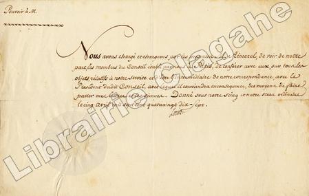 Pièce signée. Louis XVIII, Roi de France.