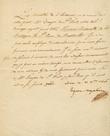 Lettre signée. Beauharnais, Eugène de,