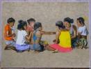 MADAGASCAR. Jeux d'enfants. Lithographie.. MALBREIL (François).