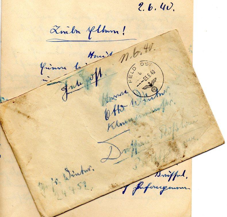 MILITARIAT GUERRE 39/45 Lettre de soldat Allemand à sa famille 2 juin 1940.