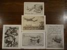 5 Eaux-fortes, Cartes de Vœux. LEON, Edouard