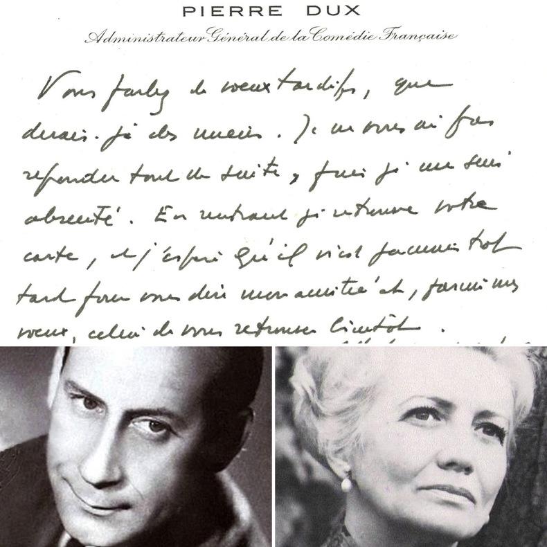 Carte de visite autographe signée adressée à la comédienne et sociétaire de la Comédie Française Louise Conte. Pierre Dux