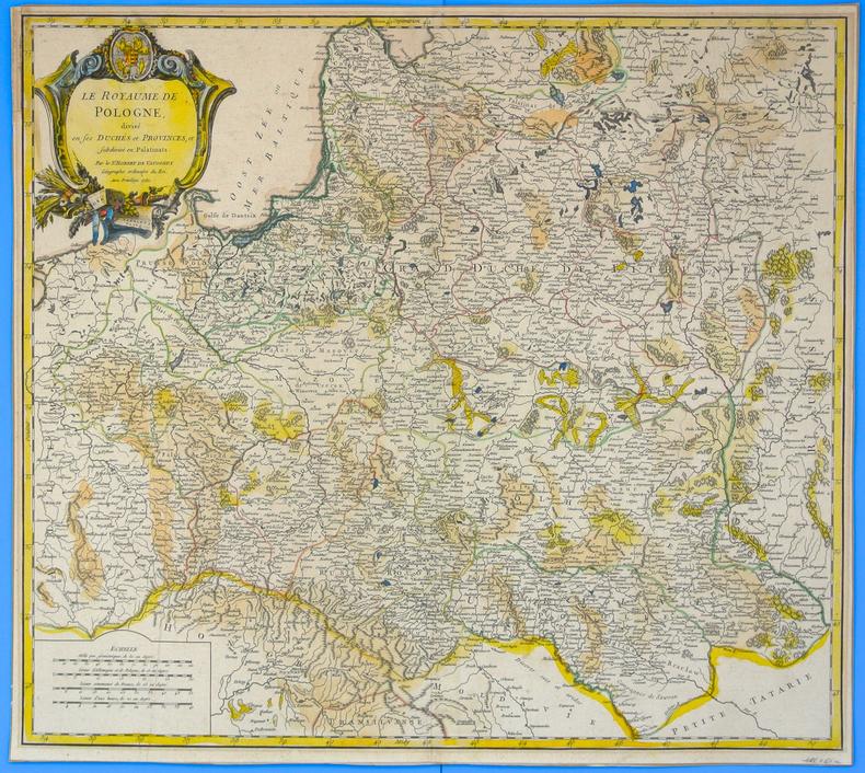 Le Royaume de Pologne, divise en ses duches et provinces, et subdivise en Palatinats. Par le Sr. Robert de Vaugondy Geographe ordinaire du Roi. Avec ...