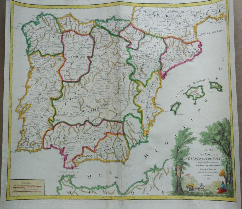 Carte des Royaumes d'Espagne et de Portugal dans laquelle sont tracees les routes des postes. Par le Sr. Robert Geographe ordin. du Roi.. Robert de ...