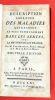 Description abrégée des maladies qui règnent le plus communément dans les armées, avec la méthode de les traiter. Par M. Van Swieten, Premier Médecin ...