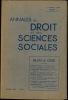 ANNALES DU DROIT ET DES SCIENCES SOCIALES, 1èreannée 1933, numéro 1: BILAN DE CRISE.