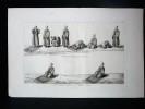 GRAVURE ORIGINALE. Musulmans faisant la prière, Namaz.  Planche originale issue du Tableau général de l'Empire othoman de Mouradja (Mouradgea) ...