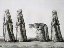 GRAVURE ORIGINALE. Musulmane faisant la prière, Namaz.  Planche originale issue du Tableau général de l'Empire othoman de Mouradja (Mouradgea) ...
