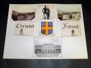 GARE DE CLERMONT-FERRAND. Ensemble de 3 photographies originales, avec décors et illustrations manuscrits Belle Epoque (circa 1900). . [ANONYME].
