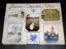 LE BOURGET DRANCY. Ensemble de 5 photographies originales, avec décors et illustrations manuscrits Belle Epoque (circa 1900). Dessins de soldats. . ...