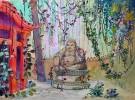 Dessin original. Projet de décor de scène de Théâtre, d'Opéra ou d'Opérette. Temple et Bouddha asiatiques. . [GANNE, Ateliers Pierre-Henri].