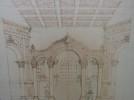 Dessin original. Projet de décor de scène de Théâtre, d'Opéra ou d'Opérette. Escalier d'honneur. 2 planches.. [GANNE, Ateliers Pierre-Henri].