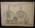 Dessin original. Projet de décor de scène de Théâtre, d'Opéra ou d'Opérette. Bureau-Laboratoire. . [GANNE, Ateliers Pierre-Henri].