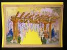 Dessin original. Projet de décor de scène de Théâtre, d'Opéra ou d'Opérette. Pergola fleurie.  . [GANNE, Ateliers Pierre-Henri].