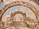 Dessin original. Projet de décor de scène de Théâtre, d'Opéra ou d'Opérette. Arches fleuries. . [GANNE, Ateliers Pierre-Henri].