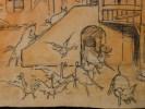 Dessin original. Projet de décor de scène de Théâtre, d'Opéra ou d'Opérette. Panique à la ferme. . [GANNE, Ateliers Pierre-Henri].