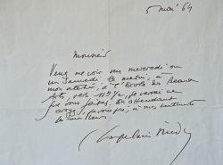 Roger Chapelain-Midy fixe un rendez-vous dans son atelier à l'École des Beaux-Arts.. Roger Chapelain-Midy (1904-1992) Peintre, lithographe, ...