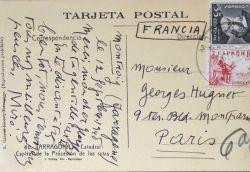 Amicales pensées de Joan Miro à Georges Hugnet.. Joan Miro (1893-1983) Peintre et sculpteur.