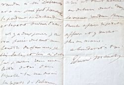 Très belle lettre de Manet à Zacharie Astruc sur la vente de deux tableaux.. Édouard Manet (1832-1883) Peintre.