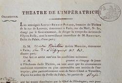 Engagement d'un musicien à l'Opéra Buffa du Théâtre de l'Impératrice.. Louis-Benoît Picard (1769-1828) Dramaturge et directeur de troupes, il dirigea ...