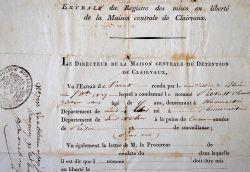 Acte de libération d'un détenu de la prison de Clairvaux, en 1829..