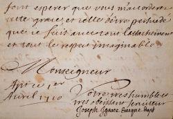 L'évêque d'Apt, Joseph Ignace de Foresta, soutient un prêtre de son diocèse.. Joseph Ignace de Foresta (1654-1736) Evêque d'Apt (1695-1723).