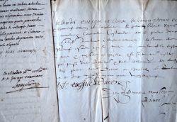 Deux documents signés par des évêques de Viviers des XVIe et XVIIIe. Joseph Rolin de Morel de Mons (1715-1783) Evêque de Viviers (1748-1778).Jean de ...